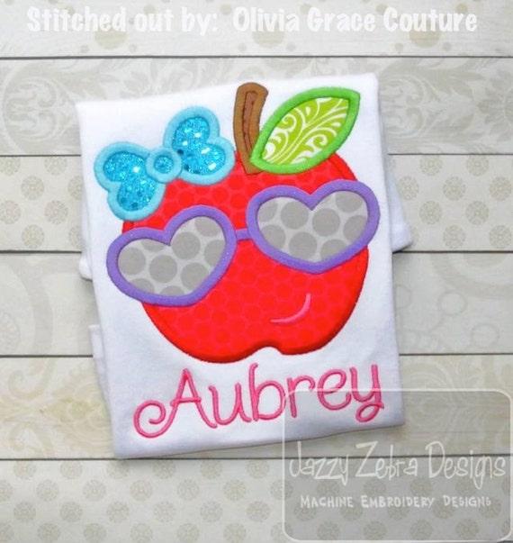 Girl Apple with Heart Sunglasses Appliqué embroidery Design - apple appliqué design - school appliqué design - girl appliqué design