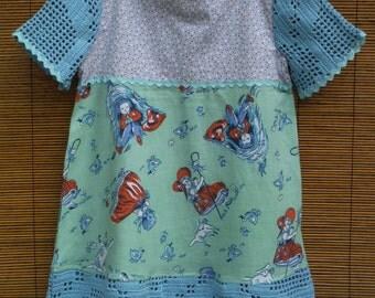 Size 5 Vintage Linens Girls Dress - Vintage Little Bow Peep - Size 5T Vintage Dress - Vintage Girls Size 5 Summer Dress - Little Bow Peep