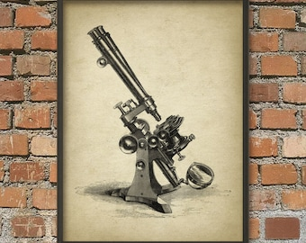 Antique Microscope Print #2 - Biology Wall Art Poster - Science Student Gift Idea - Vintage Optical Microscope Wall Art Poster