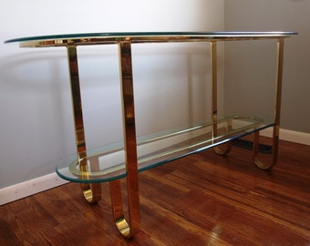 SUPER SALE!!!  Design Institute of America Brass & Glass Console Table
