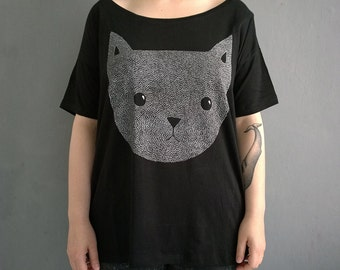 cat face - hand screen printed shirt, one size fits many
