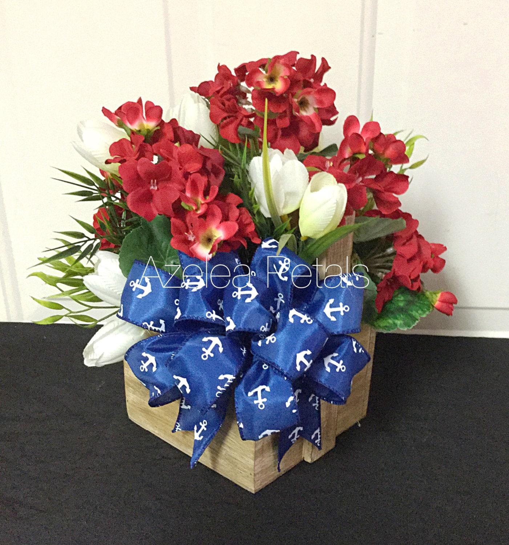Patriotic floral arrangement nautical anchor by azeleapetals for Red white blue flower arrangements