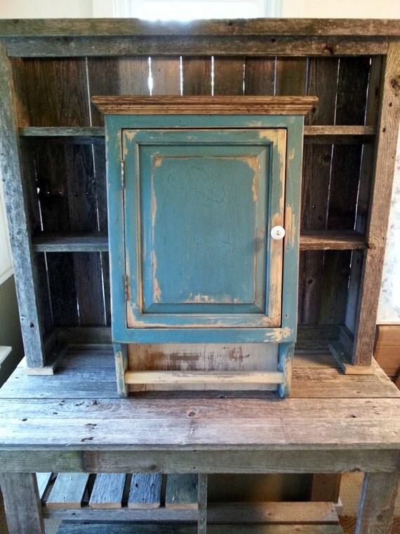 Distressed Chalk Paint Farmhouse Primitive White Pine Cabinet