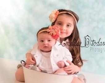 Peach Floral Chiffon Flower Headband, Baby Headband, Toddler Headband, Photo Prop, Special Occasions
