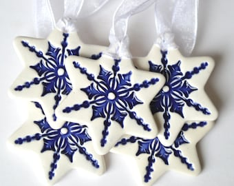 Ceramic Christmas ornaments, star ornaments, white decorations, gift tags, hostess gift, set of 3, 5 or 10