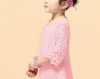 Toddler Girl Lace Dress - Pink