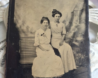 Turn of the Century Tin Type Photo of Pretty Victorian Ladies Posing Fashion on Bench
