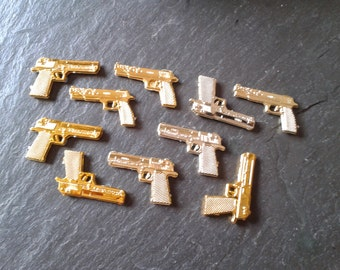 10 mini Gold or Silver James Bond tiny 007 spy guns thug life  Partners in Crime birthday party cake toppers miniature doll Halloween supply