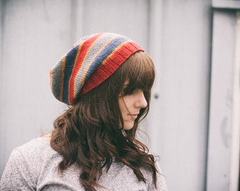 Striped Slouchy Merino Beanie | Hand Knitted Slouchy Hat