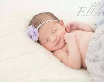 Newborn Headband Photo Prop - Lilac Purple Flower Head Band for Infant - Purple Skinny Elastic Headband for Newborn - Newborn Photo Prop