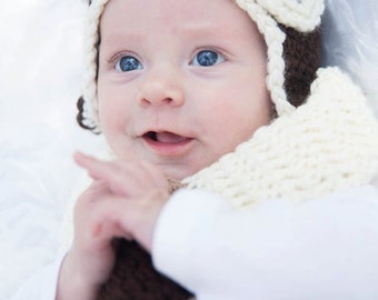 Aviator Hat - Aviator Photo Prop - Crochet Aviator Hat - Pilot hat wit goggles - Baby Boy Photo Prop - Aviator goggles hat-crochet Pilot Hat