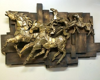 Mid Century Brutalist Hanging Wall Art Sculpture of Gold Running Horses by Finesse Originals