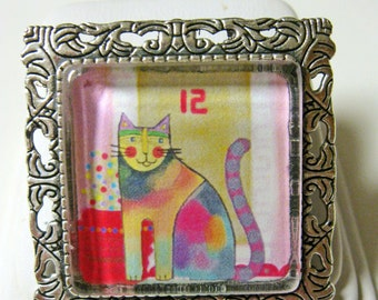 Contemporary cat pendant/brooch with chain - CAP35-010