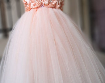 TUTU Flower girl dress Peach Tutu dress Wedding dress Birthday dress Party Dress Newborn 2T to 8T