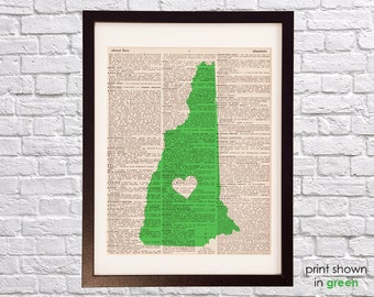 New Hampshire Dictionary Print - New Hampshire Art - Print on Vintage Dictionary Paper - Choose Your Color - Manchester, Nashua, Concord