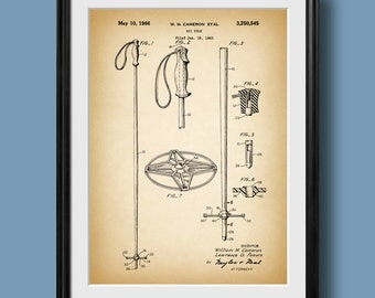 "Retro 1966 ""Ski Pole"" Vintage Patent Illustration, Art Print Poster, Wall Art, Home Decor, Alpine Skiing, Ski Art, Snow Skis, Gift Idea 166"