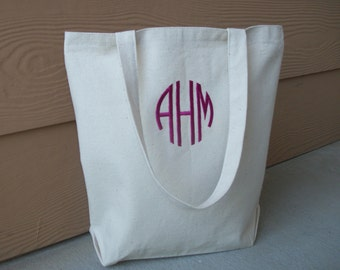 Monogram Canvas Tote Bag/Bridal Bag - Circle Monogram ***FAST Shipping!