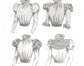 VICTORIAN BLOUSE PATTERN  Historical Costume ~ Gibson Girl Bouse ~ Sash ~ Detachable Collar ~ Bust  30.5  31.5  32.5 ~ Butterick 3417