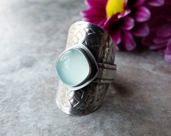 CHOOSE YOUR SIZE: Aqua Chalcedony Saddle Ring, Turquoise Silver Stone Ring, Artisan Ring, Wide Band, Custom Size, Mandala Ring, Shield Ring