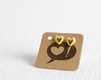Vintage Yellow Heart Cutout Stud Earrings, Tiny Sunshine Heart Earrings New Old Stock