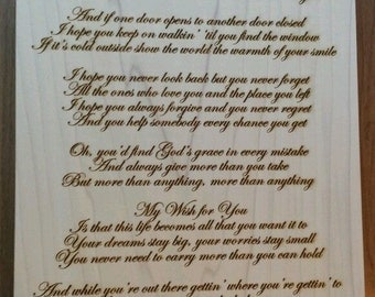 My Wish for You - Laser Engraved Plaque