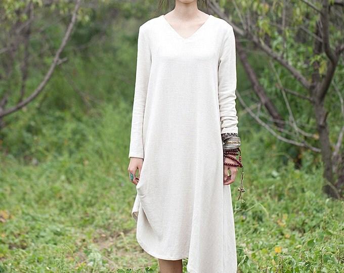 Women long dress - Long sleeves Dress - V neck - Spring/Autumn dress - Linen dress - Made to order
