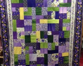 "On SALE!  Purple Morning Glories Quilt Kit 57"" x 75"""