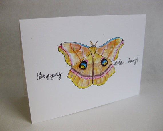 Mother's Day Card - Moth / Butterfly - Handmade and printed from original ink and gouache illustration