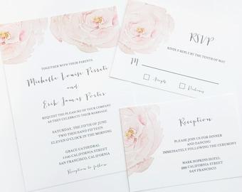 Rose Watercolor Wedding Invitation Suite
