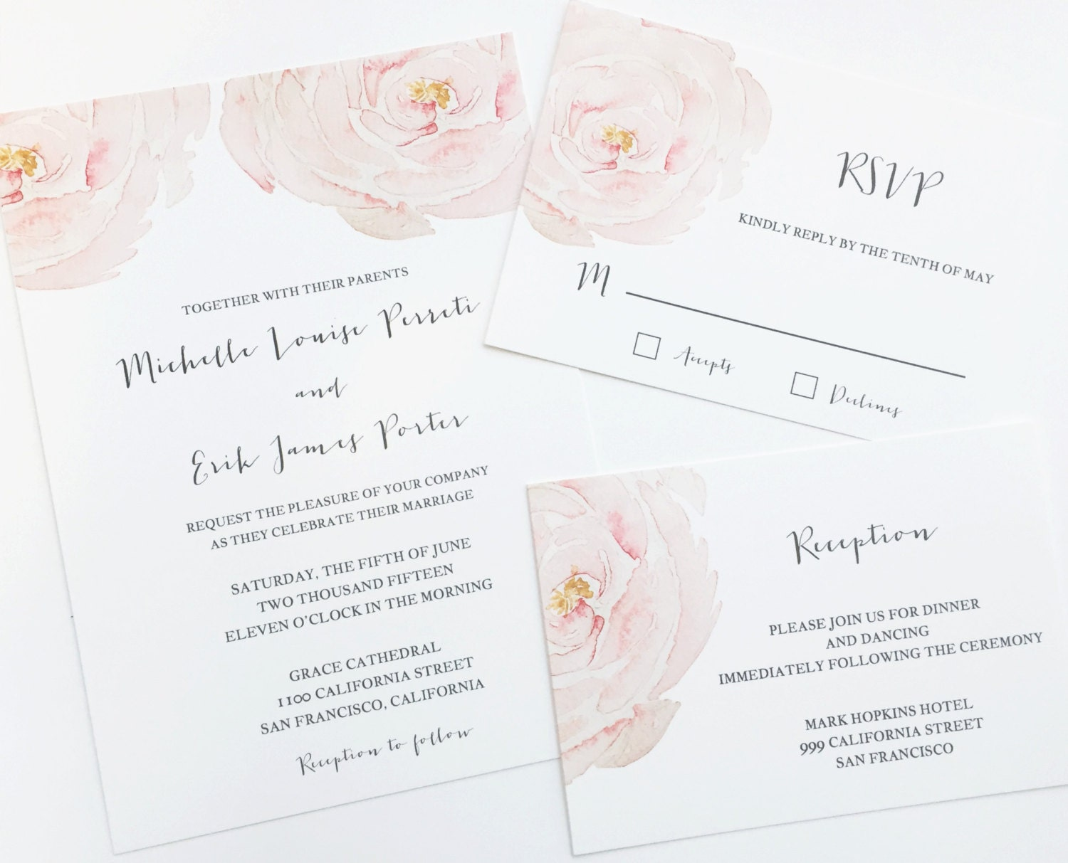 Rose watercolor wedding invitation suite for Wedding invitations 50 cents each