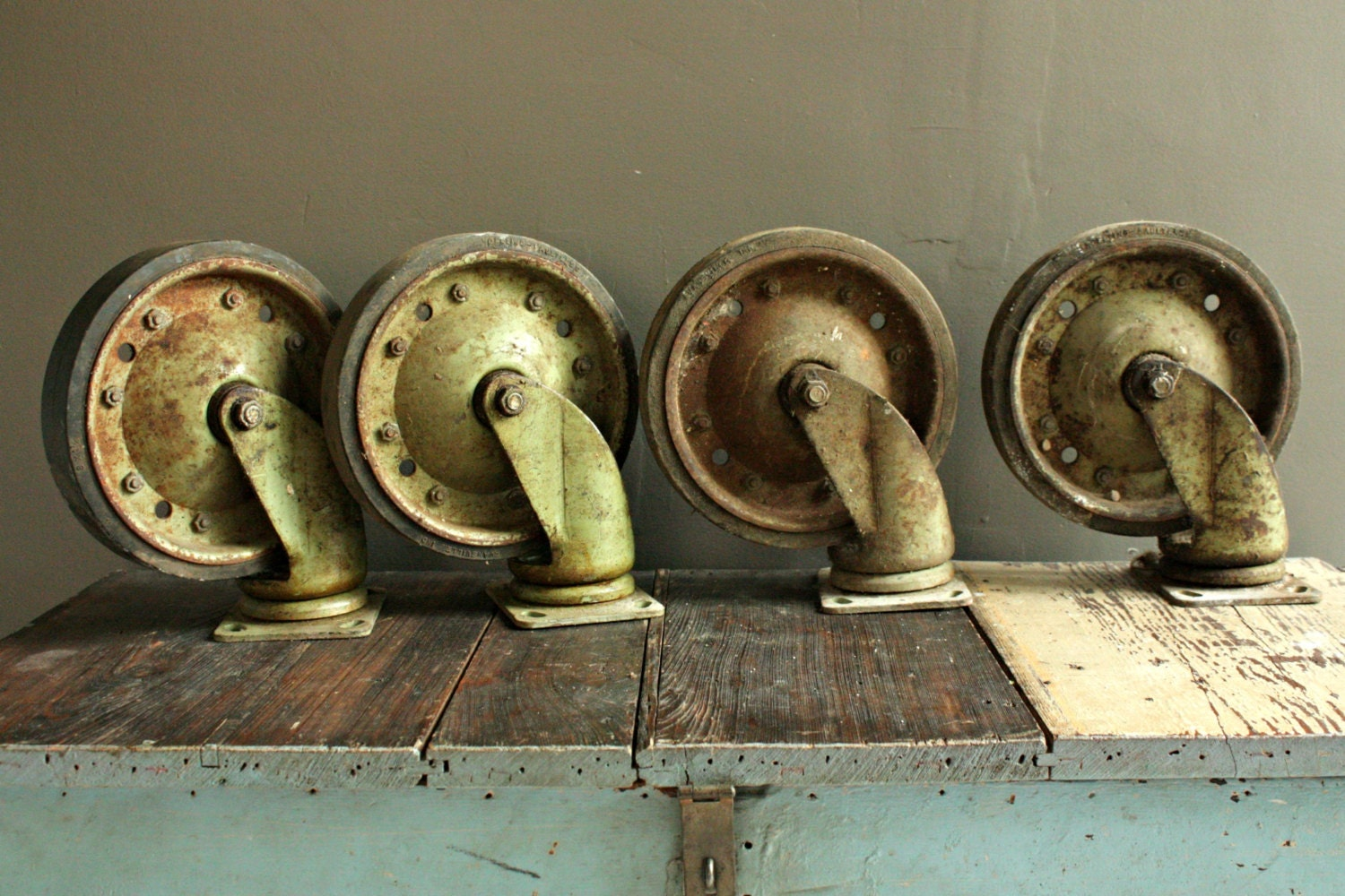 4 Vintage Casters, Large Swivel Casters, Industrial Caster Wheels,  Restoration Hardware, Steel Casters, Antique Casters, Rustic Casters,