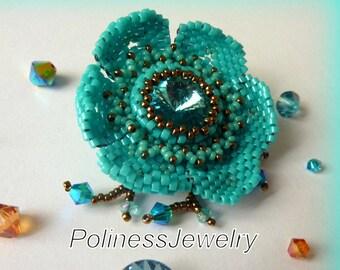 Jewelry- Handmade jewelry - Beaded brooch – Flower brooch - Beaded flower - Swarovsky crystal - Gift woman