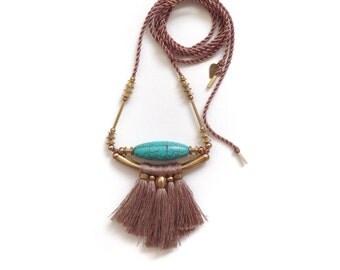 Talia Turquoise Fringe Necklace