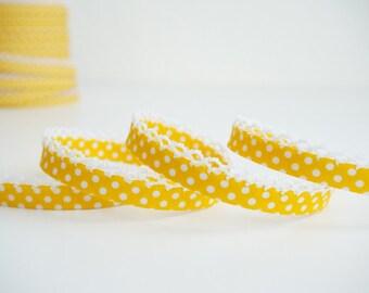 3 yards Yellow Polka Dots Lace Trim, Double Fold Bias Tape, Lace Edged Binding Tape, Polka Dot, Bias Binding, Fabric Trim,Yellow