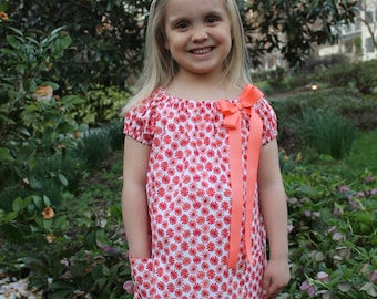 Molly: Red-Orange-Coral Dress with Pockets and Bow