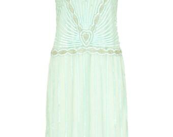 UK18 US14 AUS18 Charleston Mint Vintage inspired 1920s Flapper Great Gatsby Downton Abbey Rehearsal Dinner Bridal Shower Dress New Hand Made