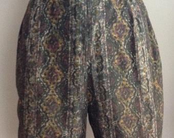 Vintage 1960s/60s Batik Print High Waist Cotton Shorts