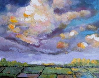 Original Art Painting, Original Painting, Acrylic Art, Original Art, Morning in the Valley  16in x 16in x 1.5 in