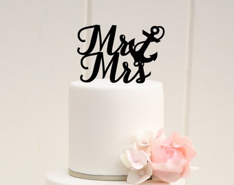 Nautical Wedding Cake Topper Mr and Mrs with Anchor Cake Topper