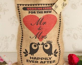 Wedding card box sack, small wedding card holder, love birds design.