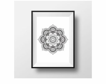 Mandala large poster poster on paper (from US Letter and A4 up to A0 size) or rolled canvas
