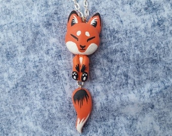 Cute Fox dangle necklace / Gift for under 20 dollars / Kawaii Kitsune / Forest Tail Paw Print / Unique hand painted animal lover jewelry