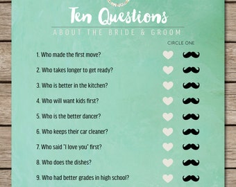 Mint Watercolor Ten Questions Bridal Shower & Wedding Game