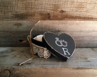 Black Rustic Ring Bearer Heart Shaped Pillow Box, Rustic Ring Bearer Pillow Alternative, Wedding Ring Holder, Personalized Ring Box