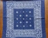Vintage wash colour color fast cotton bandana indigo blue pattern flowers RN 13960