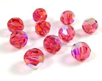12pcs 8mm PADPARADSCHA AB 5000 Swarovski Crystal Faceted Round Beads