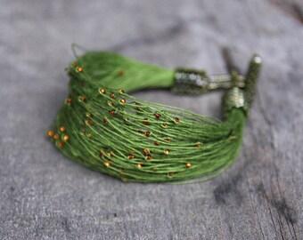 Olive Green Bracelet, Orange Seed Beads Jewelry, Wide Bracelet, Lightweight Jewelry, Soft Bracelet, Comfortable Bracelet, Yarn Jewelry Green