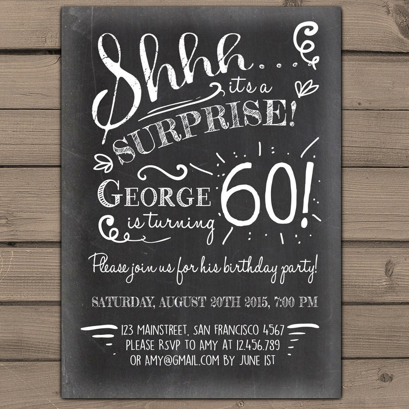 Surprise 60th – Surprise Birthday Invitations for Him