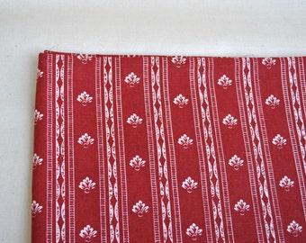 Vintage red cotton fabric with white french lily ornament french chic fabric  le fleur de lis