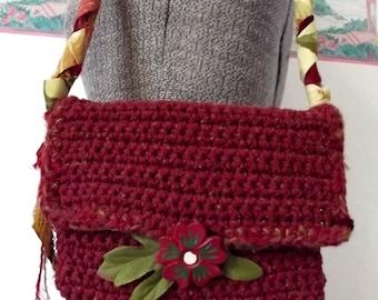 Handmade Crochet Purse Fiber Handbag Brick Red Recycled Silk Strap Vintage Wooden Button Raggy Tattered Gypsy